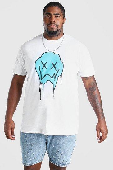 White Big & Tall Drip Face Print T-Shirt
