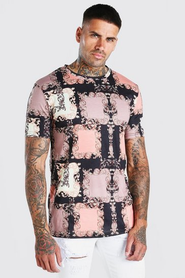 Pink Patchwork Baroque T-Shirt