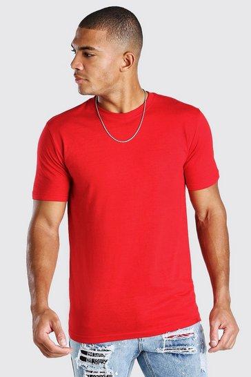 Red Basic Crew Neck T-Shirt