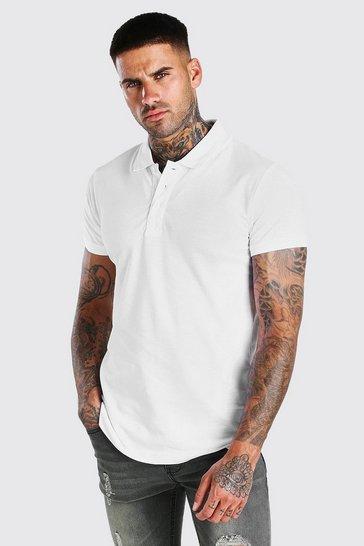 White Short Sleeve Pique Polo