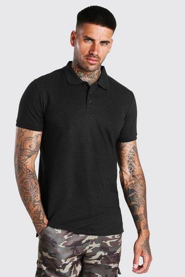 Black Short Sleeve Pique Polo