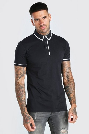 Black Short Sleeve Polo With Piping