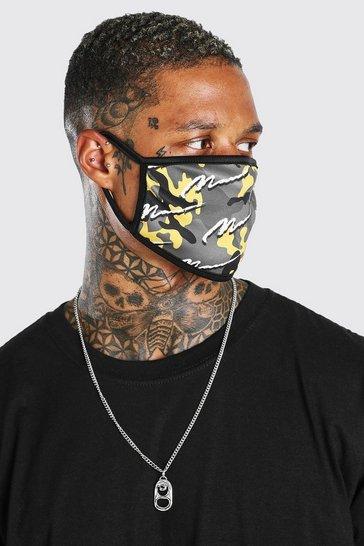 Yellow MAN Script All Over Camo Fashion Mask
