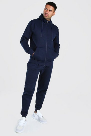 Navy Pique Zip Through Hooded Tracksuit