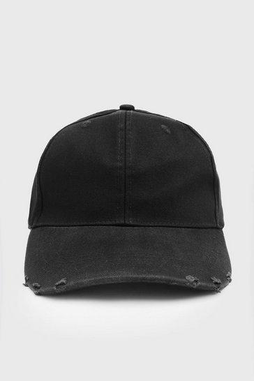 Black Curve Peak Cap With Distressed Rips