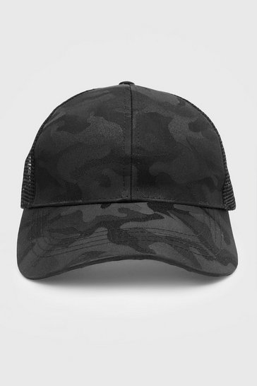 Black CamoTrucker Cap With Mesh Back