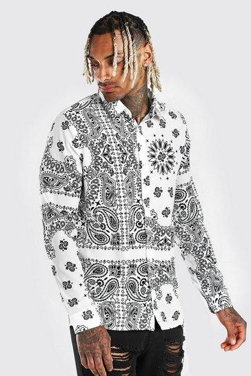 White Long Sleeve Bandana Print Shirt