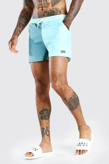 Green MAN Dash Colour Block Mid Length Swimshort