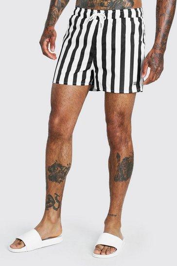 Multi Vertical Stripe Mid Length Swimshort