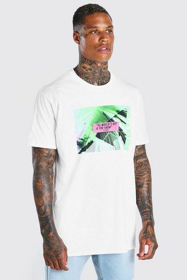 White Oversized Neon City Print T-Shirt