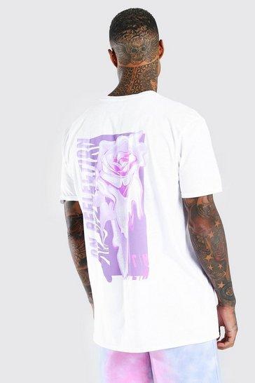 White Oversized Rose Drip Back Print T-Shirt