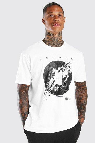 White Oversized Broken Vinyl Print T-Shirt