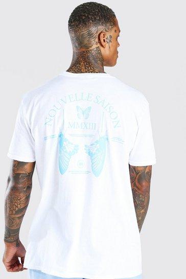 White Oversized Butterfly Back Print T-Shirt
