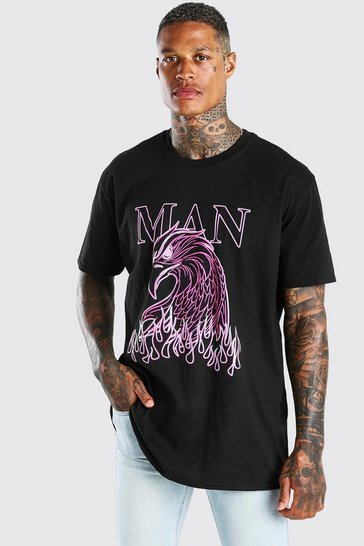 Black Oversized MAN Falcon Print T-Shirt