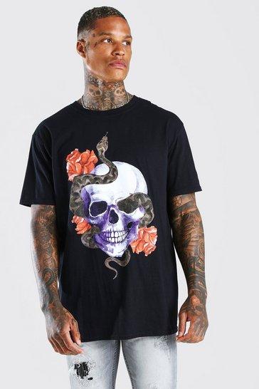 Black Oversized Skull & Snake Print T-Shirt