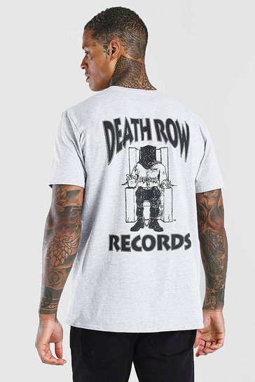 Grey marl Deathrow Front And Back Print License T-Shirt