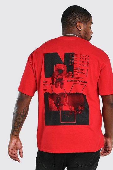 Red Big and Tall Astronaut Back Print T-Shirt
