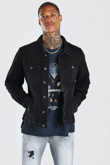 Black Regular Fit Denim Jacket