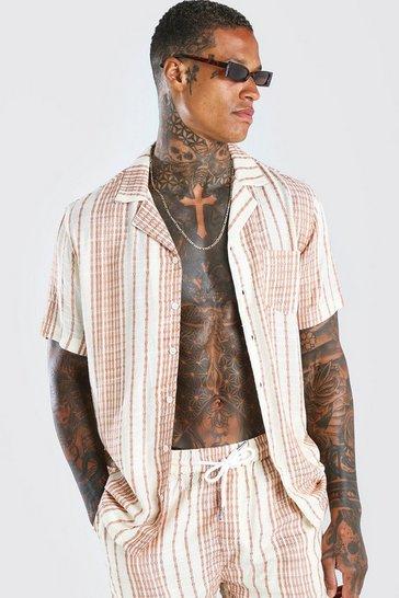 Beige Short Sleeve Revere Collar Linen Stripe Shirt