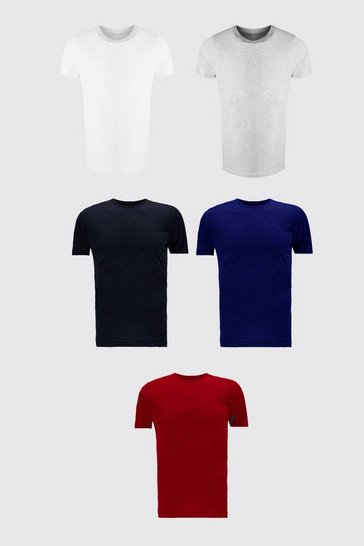 Multi 5 Pack Crew Neck T-Shirt