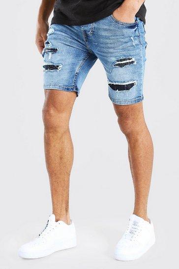 Mid blue Skinny Fit Rip And Repair Bandana Denim Shorts