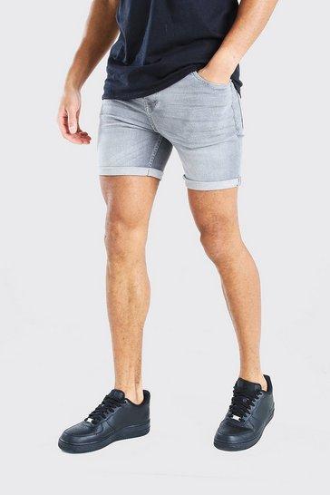 Grey Skinny Fit Denim Short