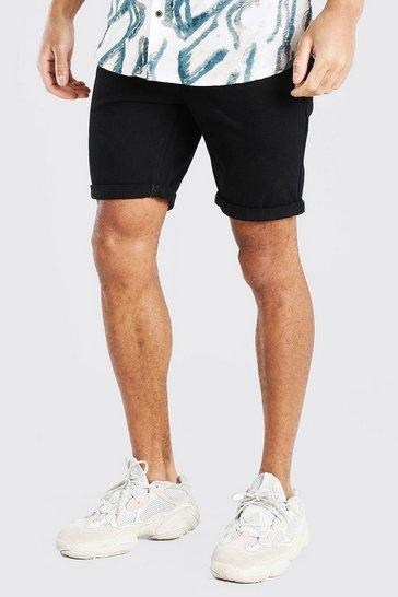 Black Slim Fit Denim Shorts