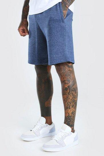 Blue Basic Mid Length Jersey Shorts