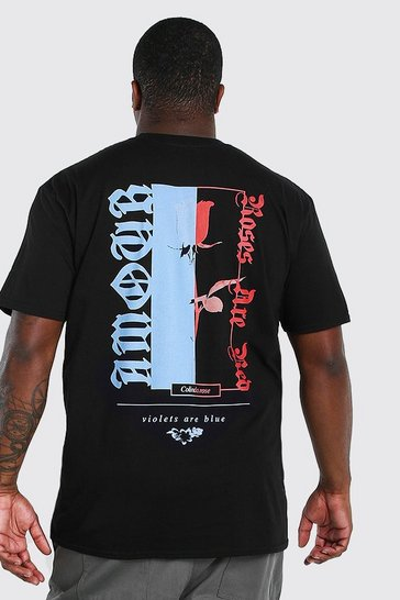 Black Big and Tall Spliced Rose Back Print T-Shirt