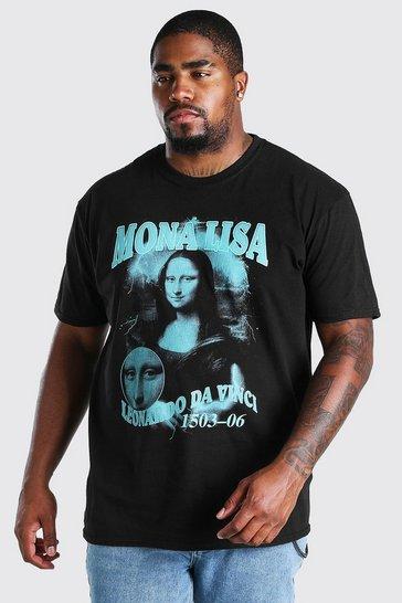 Black Big and Tall Mona Lisa Hommage Print T-Shirt