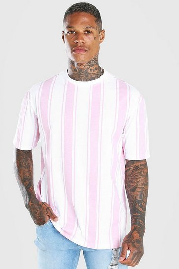 Pink Oversized Vertical Stripe T-Shirt