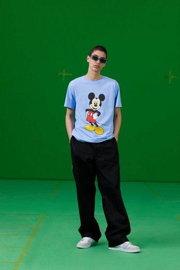 Blue Disney Mickey Print T-Shirt