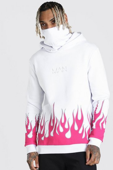 White MAN Official Flame Print Snood Hoodie