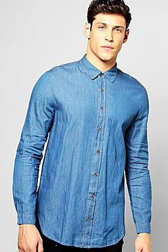 Longline Denim Shirt With Curved Hem