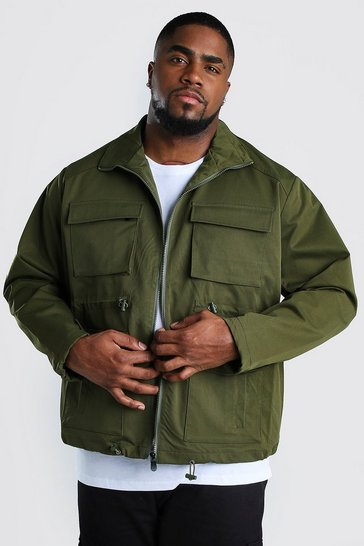 Khaki Big And Tall 4 Pocket Utility Jacket