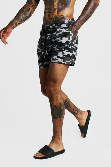 Grey Camo Print Mid Length Swim Short