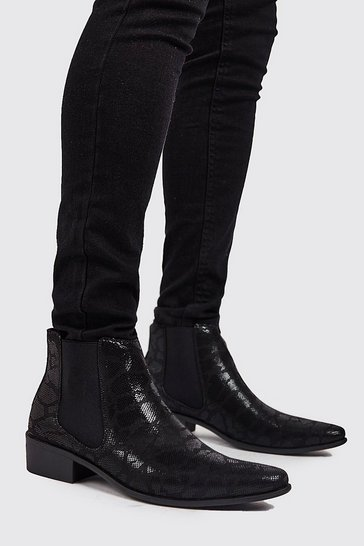 Black Faux Snake Print Western Chelsea Boot