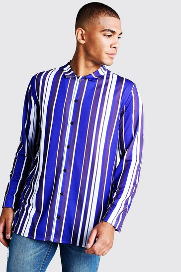 Long Sleeve Cobalt Stripe Shirt