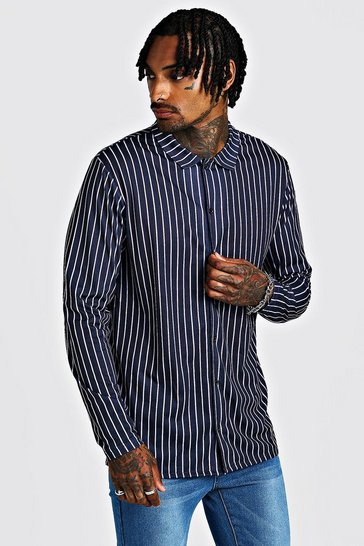 Navy Long Sleeve Stripe Shirt