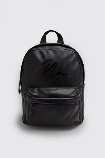Black MAN Script Emboss PU Backpack