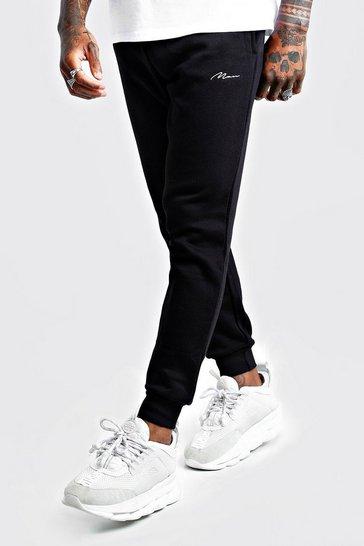 Black MAN Signature Slim Fit Joggers