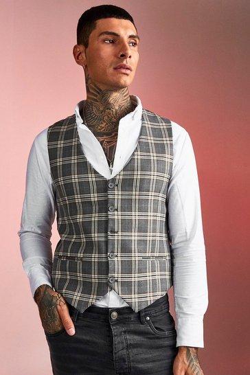 Brown Skinny Fit Heritage Check Waistcoat
