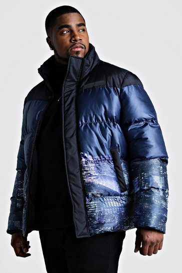 Black Big & Tall Night Sky Printed Puffer Coat