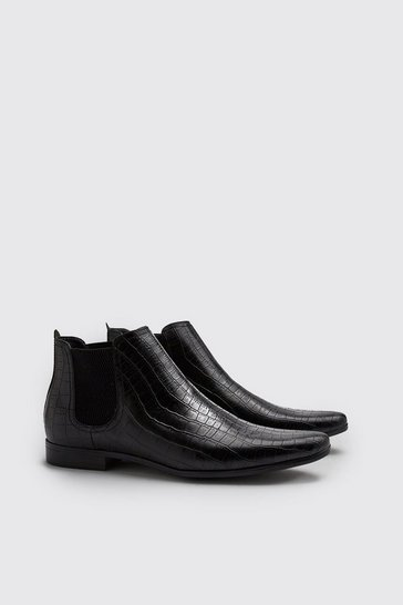 Black Croc Effect Chelsea Boot