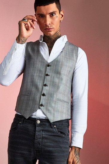 Brown Smart Check Skinny Fit Waistcoat