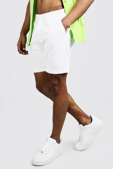 White Skinny Fit Chino Short In Mid Length