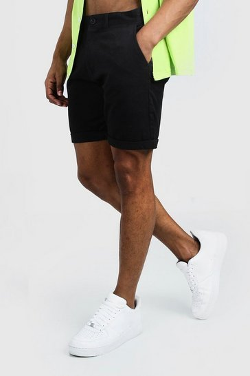 Black Skinny Fit Chino Short In Mid Length