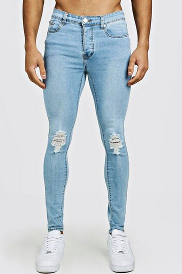 Light blue Spray On Skinny Fit Jeans With Ripped Knee