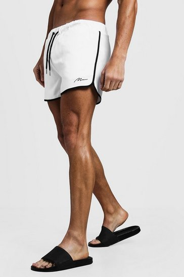White MAN Signature Runner Swim Short