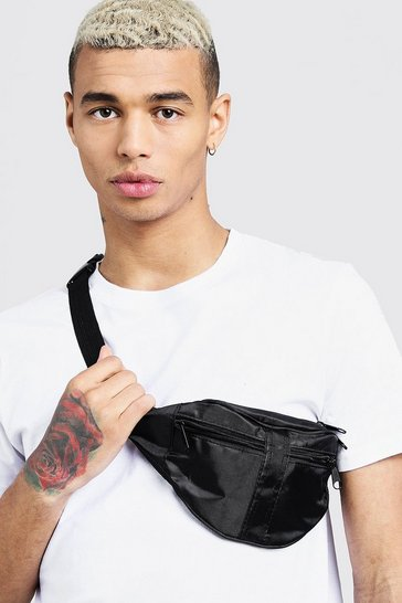 Black 2 Front Pocket Nylon Bumbag